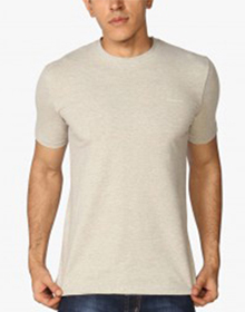 Off White Solid Round Neck T-Shirt
