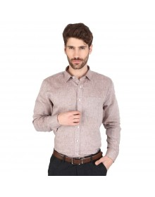Men's Solid Casual Linen Brown Shirt