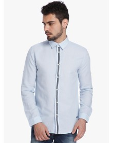 Blue Solid Slim Fit Casual Shirt By Jack & Jones