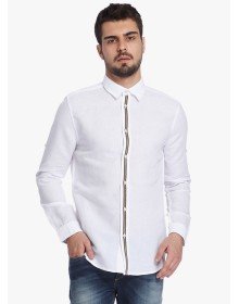 White Solid Slim Fit Casual Shirt By Jack & Jones
