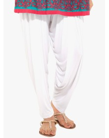 White Solid Salwar By Go Colors