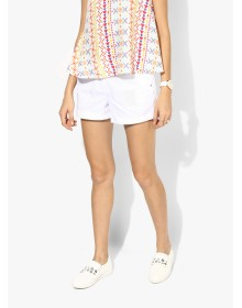 White Crochet Side Trim Shorts By Dorothy Perkins