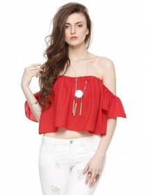 Red Bardot Top By NOBLE FAITH