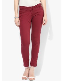Maroon Solid Chinos By Park Avenue