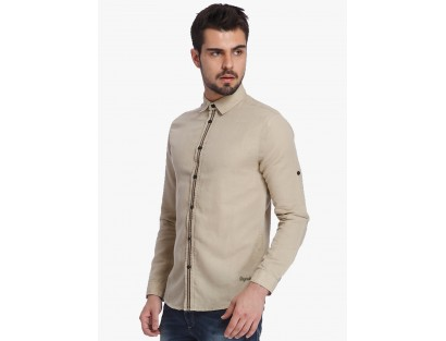 Beige Slim Fit Casual Shirt By Jack & Jones