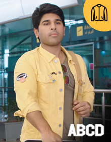 Yellow Solid Denim Jacket -ABCD