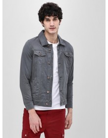 Grey Solid Denim Jacket -ABCD(Similar Style)