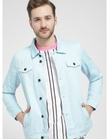 Blue Solid Denim Jacket -ABCD(Similar Style)