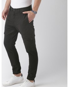 Men Black Slim Fit Solid Cargo-ABCD(Similar Style)