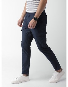 Dark Blue Solid Cargo Pant-ABCD(Similar Style)