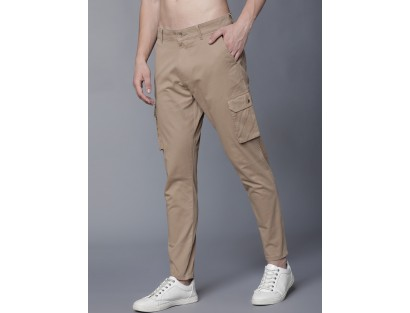 Beige Solid Cargo Pant-ABCD(Similar Style)
