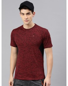 Maroon Self Design Round Neck T-shirt-ABCD(Similar Style)