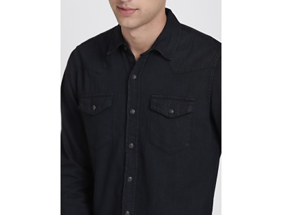 Black Double Pocket Denim Shirt-ABCD(Similar Style)