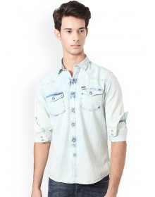 Powder Blue Double Pocket Denim Shirt-ABCD(SImilar Style)