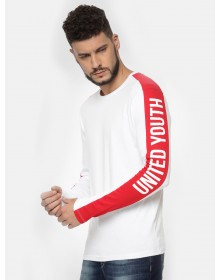 Red And White Placement Crew Neck Tee-ABCD(Similar Style)