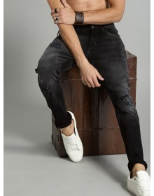 Charcoal Skinny Fit Mid-Rise Mildly Distressed Stretchable Jeans-ABCD(Similar Style)
