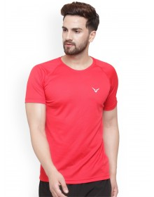 Men Rosy Red Solid Round Neck T-shirt-ABCD(Similar Style)