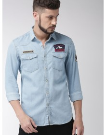 Patched Azure Blue Denim Shirt-ABCD(Similar Style)