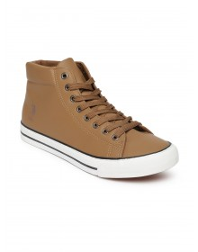 Peanut Brown Solid Jude Mid-Top Sneakers-ABCD(Similar Style)