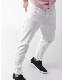 White Slim Fit Mid-Rise Slash Knee Stretchable Jeans-ABCD(Similar Style)