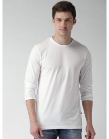 White Slim Fit Solid Round Neck T-Shirt-ABCD(Similar Style)