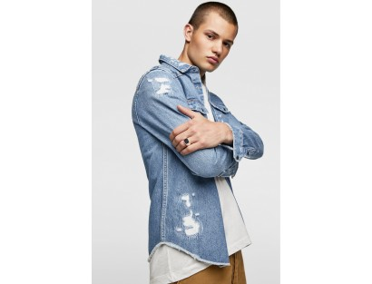 Air Force Blue Ripped Denim Shirt-ABCD(Similar Style)