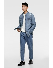 Steel Blue Ripped Denim Shirt-ABCD(Similar Style)