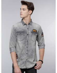 Patched Grey Denim Shirt-ABCD(Similar Style)