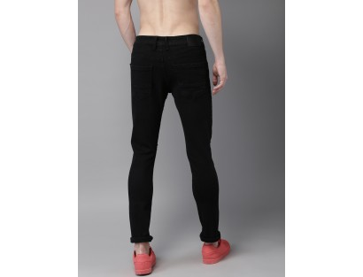 Black Skinny Fit Low-Rise Slash Knee Stretchable Jeans-ABCD(Similar Style)