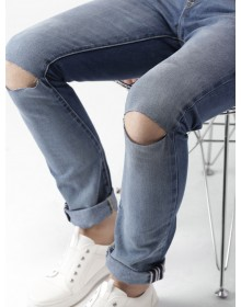 Prussian Blue Slashed Knee Jeans-ABCD(Similar Style)