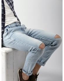 Light Blue Slashed Knee Jeans-ABCD(Similar Style)