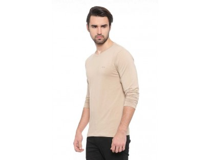 Beige Full sleeve T-Shirt-ABCD