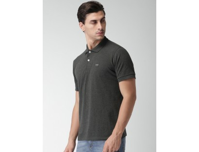 Grey Solid Polo T-Shirt