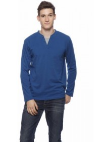 Solid Blue Men's Round Neck T-Shirt