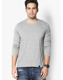 Grey Solid Round Neck T-Shirt by Rigo