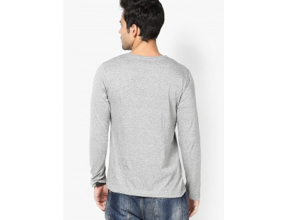 Grey Solid Round Neck T-Shirt