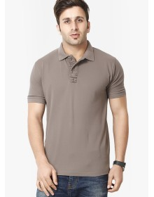Grey Solid Polo T-Shirts by Gritstones
