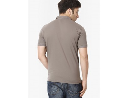 Grey Solid Polo T-Shirts