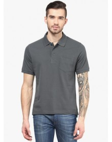 Grey Solid Polo T-Shirt by American Crew