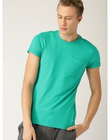 Green Solid Round Neck T-shirt-AS(Similar Style)