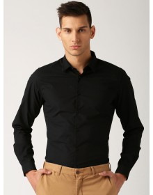 Black Regular Fit  Poplin Cotton Shirt -AS(Similar Style)