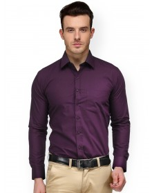 Purple Slim Fit Solid Formal Shirt -AS(Similar Style)