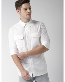 White Slim Fit Solid Casual Denim Shirt-AS(Similar Style)