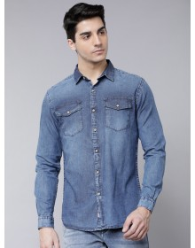 Blue Denim Faded Casual Shirt-AS(Similar Style)