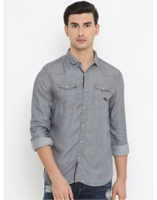 Grey Slim Fit Denim Casual Shirt-AS(Similar Style)