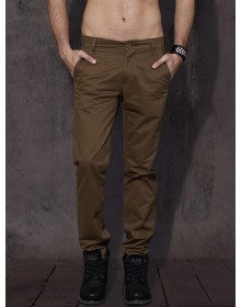 Brown Slim Fit Solid Chinos -AS(Similar Style)