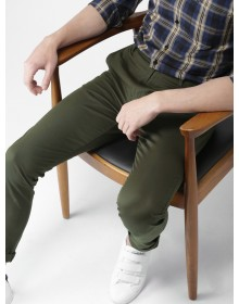 Men Olive Green Slim Fit Solid Chinos -AS(Similar Style)