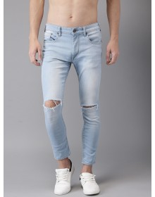 Blue Skinny Fit Cropped Knee Stretchable Jeans-AS(Similar Style)