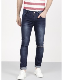 Navy Blue Skinny Fit Denim with Slash Knees-AS(Similar Style)
