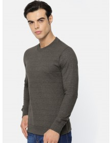 Men Brown Solid Round Neck T-shirt -AS(Similar Style)